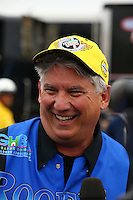Feb 22, 2015; Chandler, AZ, USA; NHRA pro stock driver Rodger Brogdon celebrates after winning the Carquest Nationals at Wild Horse Pass Motorsports Park. Mandatory Credit: Mark J. Rebilas-
