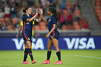 HOUSTON, TX - JUNE 13: Margaret Purce #20 of the United States scores a goal and celebrates during a game between Jamaica and USWNT at BBVA Stadium on June 13, 2021 in Houston, Texas.
