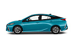 Car driver side profile view of a 2017 Toyota Prius Plug-in Hybride Solar 5 Door Hatchback