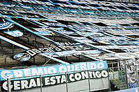 PORTO ALEGRE, RS, 03.04.2021 - GREMIO - INTERNACIONAL - Sem torcida presente, apenas profissionais da imprensa, clubes e federação gaúcha na partida entre Grêmio e Pelotas, no Grenal 430, válida pela 9. rodada do Campeonato Gaúcho 2021, no estádio Arena do Grêmio, em Porto Alegre, neste sábado (03).