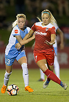 Boyds, MD - Saturday April 29, 2017: Denise O'Sullivan, Line Sigvardsen-Jensen during a regular season National Women's Soccer League (NWSL) match between the Washington Spirit and the Houston Dash at Maureen Hendricks Field, Maryland SoccerPlex. The Dash won 1-0.