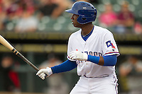 Round Rock second baseman Jurickson Profar (10) at bat in the Pacific Coast League baseball game against the Nashville Sounds on May 4, 2013 at the Dell Diamond in Round Rock, Texas. Round Rock defeated Nashville -6. (Andrew Woolley/Four Seam Images).