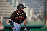 Modesto Nuts designated hitter Nick Zammarelli III (25) starts down the first base line during a California League game against the San Jose Giants at John Thurman Field on May 9, 2018 in Modesto, California. San Jose defeated Modesto 9-5. (Zachary Lucy/Four Seam Images)