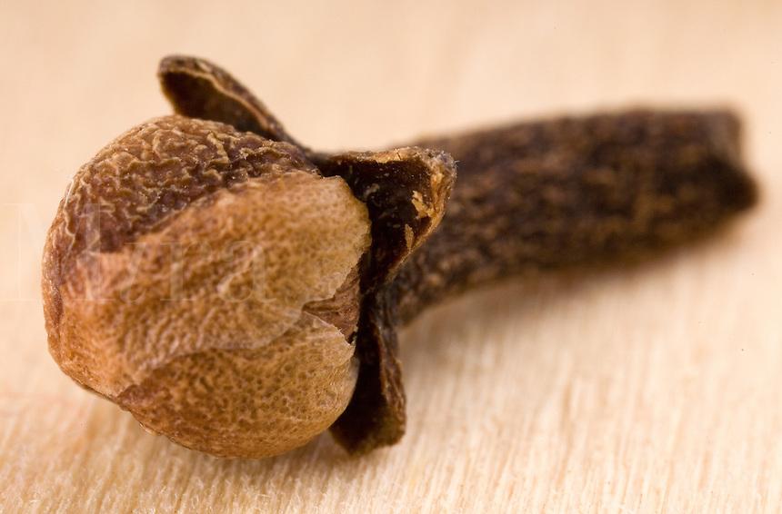 Macro close-up of a single whole clove on wood