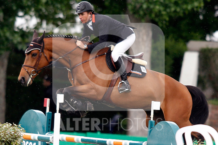 Portoguese jockey Ivan Camargo and Calimero of Colors horse during 102 International Jumping Championship Grand Prix of Madrid- Caser Trophy, in the Club de Campo Villa de Madrid 2012/May/21..(ALTERPHOTOS/ARNEDO)
