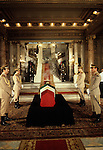 Shah of Iran his state funeral Cairo Egypt. Guards stand over the coffin at The Lying in State at the Abdin Palace.1980