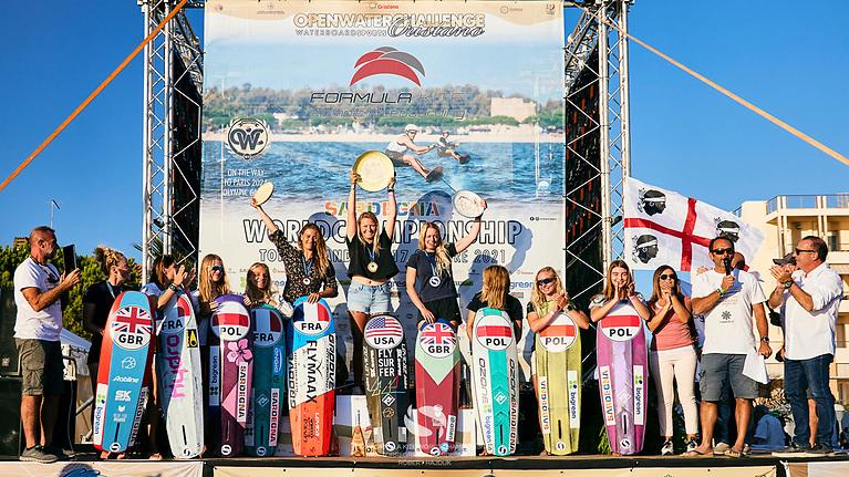 Prizewinners on the podium at the 2021 Formula Kite World Championships