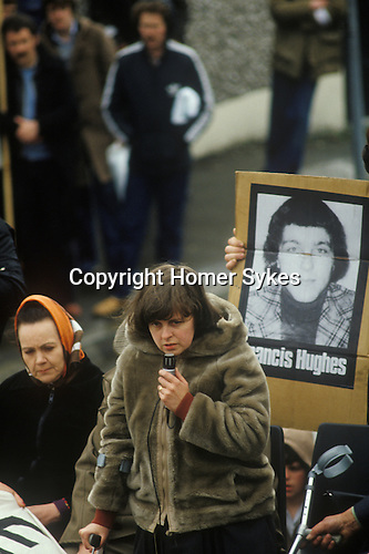 Bernadette Devlin also know as Bernadette McAliskey, Northern Ireland at hunger striker Francis Hughes funeral 1981 Uk . The Troubles.  Rally to support H Block Hunger Strikers after funeral.