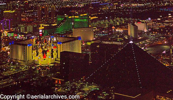 aerial photograph night time Luxor Resort and Casino, Las Vegas, Clark County, Nevada