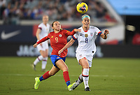JACKSONVILLE, FL - NOVEMBER 10: Gloriana Villalobos #9 of Costa Rica and Julie Ertz #8 of the United States chase down a loose ball during a game between Costa Rica and USWNT at TIAA Bank Field on November 10, 2019 in Jacksonville, Florida.