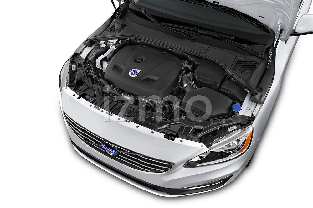 Car Stock 2015 Volvo V60 Xenium T5 Drive-E FWD 5 Door Wagon Engine high angle detail view