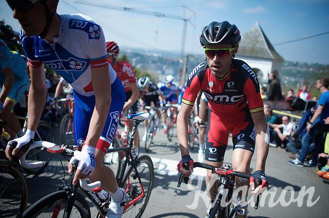 Samuel Sanchez (ESP/BMC) up the infamous Mur de Huy (1300m/9.8%)<br /> <br /> 79th Flèche Wallonne 2015