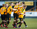 Alloa's Ryan McCord (front right) is congratulated by team mates after he scores their first goal.