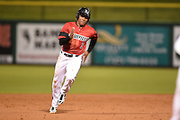 Louisville Cardinals outfielder Corey Ray (2) running the bases during a game against the USF Bulls on February 14, 2015 at Bright House Field in Clearwater, Florida.  Louisville defeated USF 7-3.  (Mike Janes/Four Seam Images)