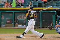 Roberto Lopez (30) of the Salt Lake Bees at bat against the Las Vegas 51s at Smith's Ballpark on May 8, 2014 in Salt Lake City, Utah.  (Stephen Smith/Four Seam Images)