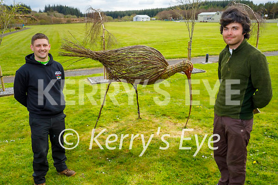 Getting ready to celebrate National Curlew Day at the Curlew statue made from willows in Lyreacrompane. Front right: Conor Rowlands (Curlew Advisor Officer for the Curlew Conservation Programme) and Faolán Linnane.