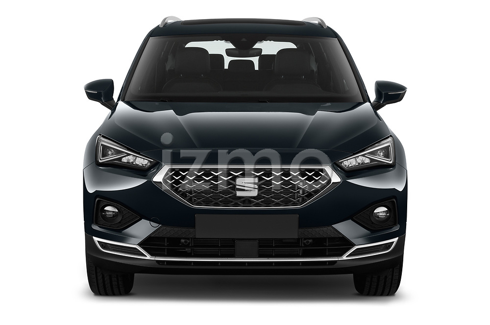 Car photography straight front view of a 2019 Seat Tarraco Xcellence 5 Door SUV Front View