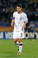 Carlos Bocanegra of USA looks dejected. Ghana defeated the USA 2-1 in overtime in the 2010 FIFA World Cup at Royal Bafokeng Stadium in Rustenburg, South Africa on June 26, 2010.