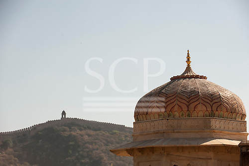 Jaipur, India. Battlements of Amber Fort.