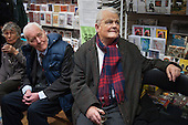 Tony Benn, President of the Stop the War Coalition (STW), and Bruce Kent, Vice Chair of the Campaign for Nuclear Disarmament, at the launch of a book marking 10 years of the STW, Housmans Bookshop, London.