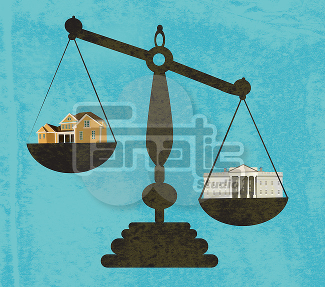 Illustration of bank and house in weight scale