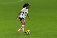 ORLANDO CITY, FL - FEBRUARY 18: Margaret Purce #20 dribbles the ball during a game between Canada and USWNT at Exploria stadium on February 18, 2021 in Orlando City, Florida.