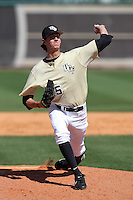 UCF Knights pitcher Eric Skoglund #25 delivers a pitch during a game against the Siena Saints at the UCF Baseball Complex on March 4, 2012 in Orlando, Florida.  Central Florida defeated Siena 15-2.  (Mike Janes/Four Seam Images)