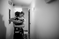 Stage 19 winner Esteban Chaves (COL/Mitchelton-Scott) arrives back at the team hotel and immediately goes to meet up with staff & fellow riders to share the joy of the win<br /> > Lucas Hamilton (AUS/Mitchelton-Scott)<br /> <br /> Stage 19: Treviso to San Martino di Castrozza (151km)<br /> 102nd Giro d'Italia 2019<br /> <br /> ©kramon