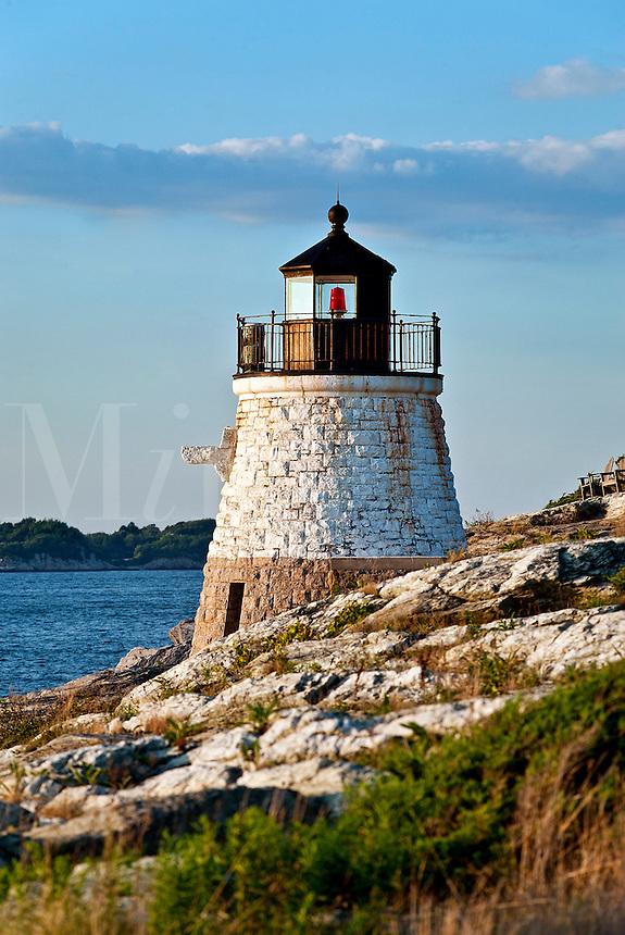 Castle Hill lighthouse overlooking Narragansett Bay, Newport, RI, Rhode Island, USA