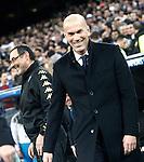 Real Madrid's coach Zinedine Zidane (r) and SSC Napoli's coach Maurizio Sarri during Champions League 2016/2017 Round of 16 1st leg match. February 15,2017. (ALTERPHOTOS/Acero)