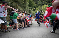 stage leader Philippe Gilbert (BEL/Deceuninck-Quickstep) up the brutal (last climb) Alto de Arraiz (up to 25% gradients!), 7km from the finish <br /> <br /> Stage 12: Circuito de Navarra to Bilbao (171km)<br /> La Vuelta 2019<br /> <br /> ©kramon