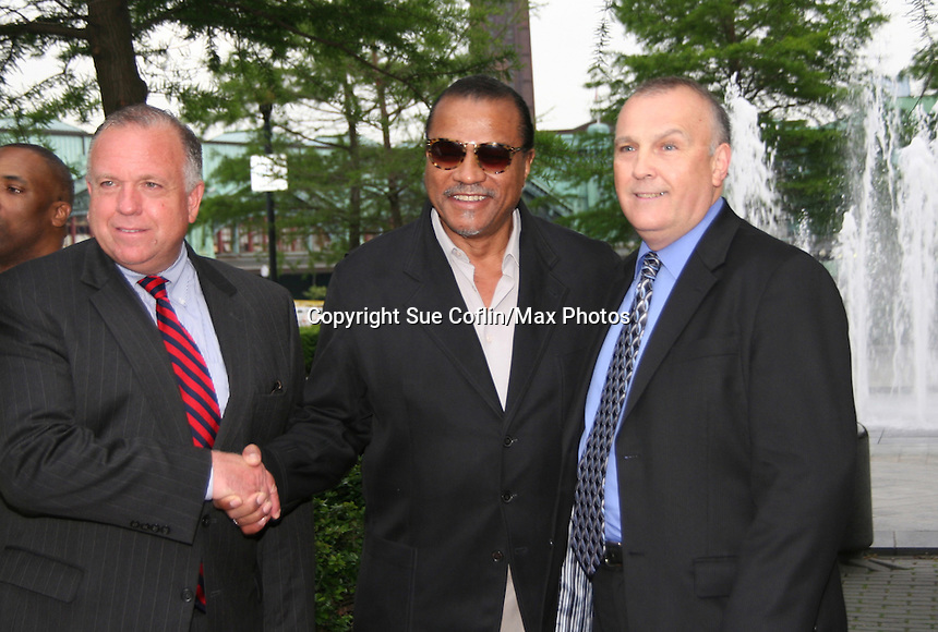 Hoboken Mayor, Billy Dee Williams & at the Gala Awards Ceremony of the 2008 Hoboken International Film Festival which concluded  with Billy Dee Williams being presented the Lifetime Achievement Award and then nominees and winners were announced on June 5, 2008 at Pier A Park, Hoboken, New Jersey.  (Photo by Sue Coflin/Max Photos)