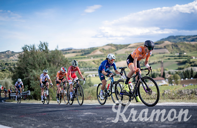 Defending champion Annemiek van Vleuten (NED/Mitchelton-Scott) riding the roadrace up the Cima Gallisterna Climb (2.3km @ 7%) only 10 days after fracturing her wrist in the Giro Rosa.<br /> <br /> Women's Elite Road Race from Imola to Imola (143km)<br /> <br /> 87th UCI Road World Championships 2020 - ITT (WC)<br /> <br /> ©kramon