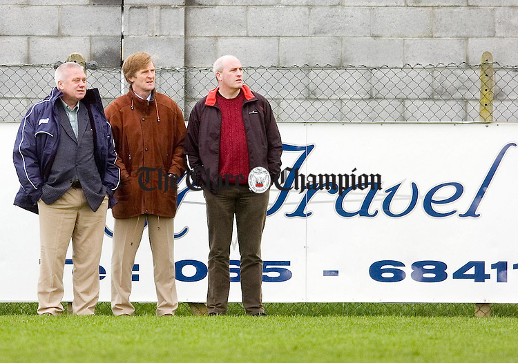 Clare Senior Football Manager Paidi O'Se (left) with selectors Vincent O'Connor and Kieren Kelleher keep an eye on players at the U21 Challenge match between Clare and Cork at Shannon.Pic Arthur Ellis.
