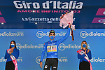 Ruben Guerreiro (POR) EF Pro Cycling retains the mountains Maglia Azzurra at the end of Stage 11 of the 103rd edition of the Giro d'Italia 2020 running 182km from Porto Sant'Elpidio to Rimini, Italy. 14th October 2020.  <br /> Picture: LaPresse/Massimo Paolone | Cyclefile<br /> <br /> All photos usage must carry mandatory copyright credit (© Cyclefile | LaPresse/Massimo Paolone)