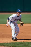 Catawba Indians third baseman Jackson Raper (14) on defense against the Wingate Bulldogs at Newman Park on March 19, 2017 in Salisbury, North Carolina.  The Indians defeated the Bulldogs 12-6.  (Brian Westerholt/Four Seam Images)