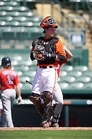 Baltimore Orioles catcher Stuart Levy (31) during an Instructional League game against the Boston Red Sox on September 22, 2016 at the Ed Smith Stadium in Sarasota, Florida.  (Mike Janes/Four Seam Images)