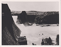 BNPS.co.uk (01202 558833)<br /> Pic: AnthonyCribb/BNPS<br /> <br /> Pictured: Damage to the dam.<br /> <br /> Rare navigation sheets which provide a gripping blow-by-blow account of the famous Dambusters raid of World War Two have come to light 78 years on.<br /> <br /> They were filled in by Sergeant Vivian Nicholson who was a navigator on one of the 19 Lancaster bombers involved in Operation Chastise on the night of May 16, 1943.<br /> <br /> As well as jotting down technical information such as wind speeds and directions, Sgt Nicholson used short phrases to offer a 'real-time' commentary of the perilous mission.