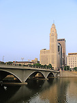 Downtown buildings, Broad Street Bridge, and the Scioto River in Columbus, Ohio.