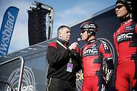 Greg Van Avermaet (BEL/BMC) interviewed on the start podium by Carl Berteele<br /> <br /> Omloop Het Nieuwsblad 2015