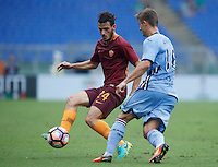 Calcio, Serie A: Roma vs Sampdoria. Roma, stadio Olimpico, 11 settembre 2016.<br /> Roma's Alessandro Florenzi, left, is challenged by Sampdoria's Karol Linetty during the Italian Serie A football match between Roma and Sampdoria at Rome's Olympic stadium, 11 September 2016. Roma won 3-2.<br /> UPDATE IMAGES PRESS/Isabella Bonotto