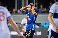 SAN JOSE, CA - AUGUST 13: Shea Salinas #6 of the San Jose Earthquakes rues a missed shot during a game between San Jose Earthquakes and Vancouver Whitecaps at PayPal Park on August 13, 2021 in San Jose, California.