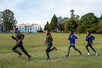 (From left to right) Shura Kitata (ETH) leads Sandrafelis Chebet Tuei (KEN) Pacemaker, Vivian Kiplagat (KEN) and Brigid Kosgei (KEN) as they train together within the grounds of the official hotel [location not disclosed] and biosecure bubble ahead of the historic elite-only 2020 Virgin Money London Marathon on Sunday 4 October. The 40th Race will take place on a closed-loop circuit around St James's Park in central London. Wednesday 30th September 2020. Photo: Bob Martin for London Marathon Events<br /> <br /> For further information: media@londonmarathonevents.co.uk