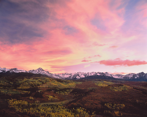 Sneffels Range at sunset in autumn, Telluride, Colorado,USA. John offers autumn photo tours throughout Colorado.