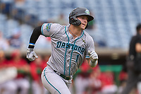 Daytona Tortugas outfielder Austin Hendrick (1) runs to first base during a game against the Clearwater Threshers on June 25, 2021 at BayCare Ballpark in Clearwater, Florida.  (Mike Janes/Four Seam Images)
