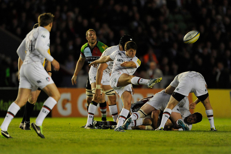 Ben Youngs of Leicester Tigers chips ahead during the Aviva Premiership match between Harlequins and Leicester Tigers at the Twickenham Stoop on Friday 18th April 2014 (Photo by Rob Munro)