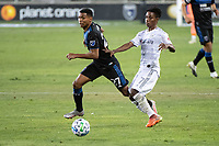 SAN JOSE, CA - NOVEMBER 04: Marcos Lopez #27 of the San Jose Earthquakes chases the ball with Latif Blessing #7 of the Los Angeles FC during a game between Los Angeles FC and San Jose Earthquakes at Earthquakes Stadium on November 04, 2020 in San Jose, California.