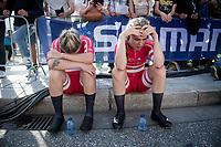 Emma Norsgaard (DEN/Movistar) & Julie Leth (DEN/Ceratizit-WNT) post-finish<br /> <br /> Mixed Relay TTT <br /> Team Time Trial from Knokke-Heist to Bruges (44.5km)<br /> <br /> UCI Road World Championships - Flanders Belgium 2021<br /> <br /> ©kramon