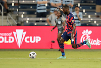 KANSAS CITY, KS - JULY 15: Shaq Moore #20 of the United States chases down a loose ball during a game between Martinique and USMNT at Children's Mercy Park on July 15, 2021 in Kansas City, Kansas.