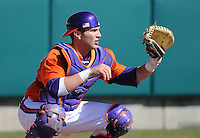 Catcher Spencer Kieboom (22) of the Clemson Tigers prior to a game against the Wright State Raiders Saturday, Feb. 27, 2011, at Doug Kingsmore Stadium in Clemson, S.C. Photo by: Tom Priddy/Four Seam Images